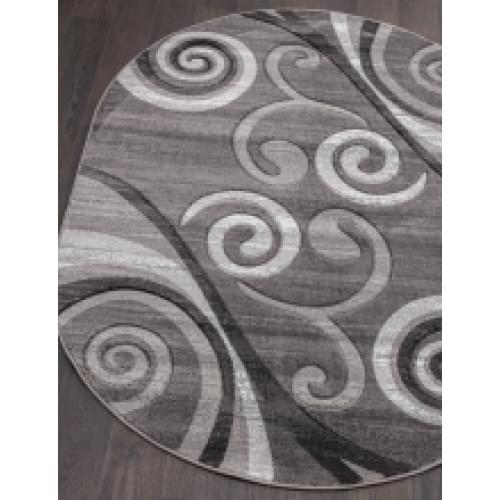 Ковер «Mega carving» d 263-gray-oval